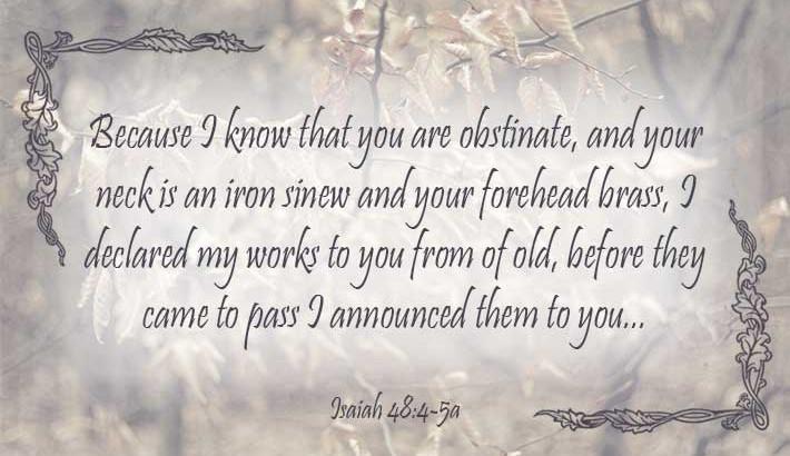 God Announces Himself - Isaiah 48:4-5